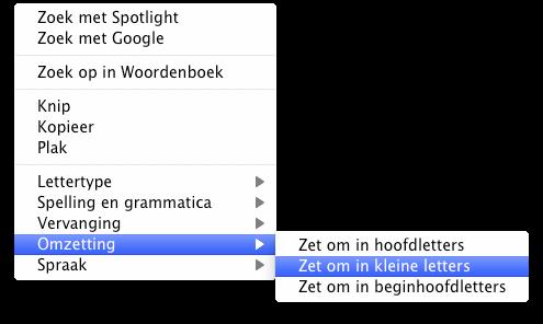 Hoofdletters naar kleine letters mac